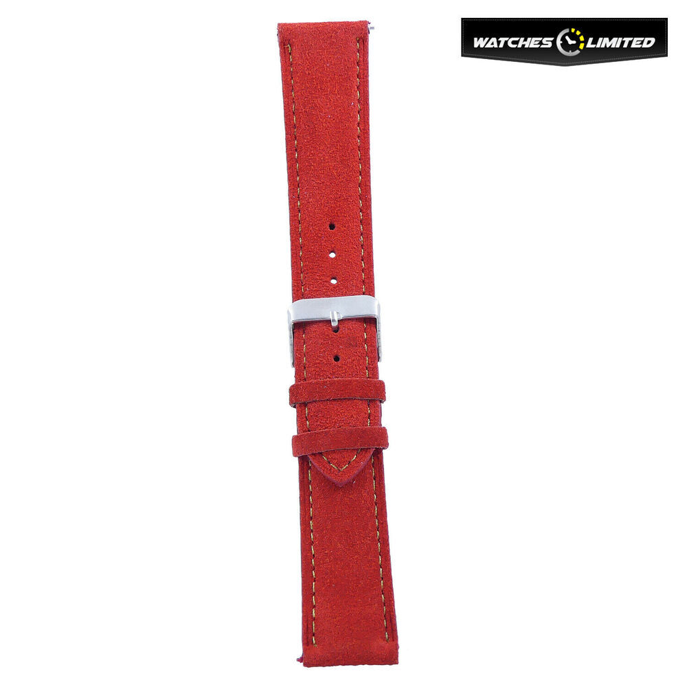 Suede Leather Strap Red, Orange, Green Multi Colour Stitching 20mm-20mm