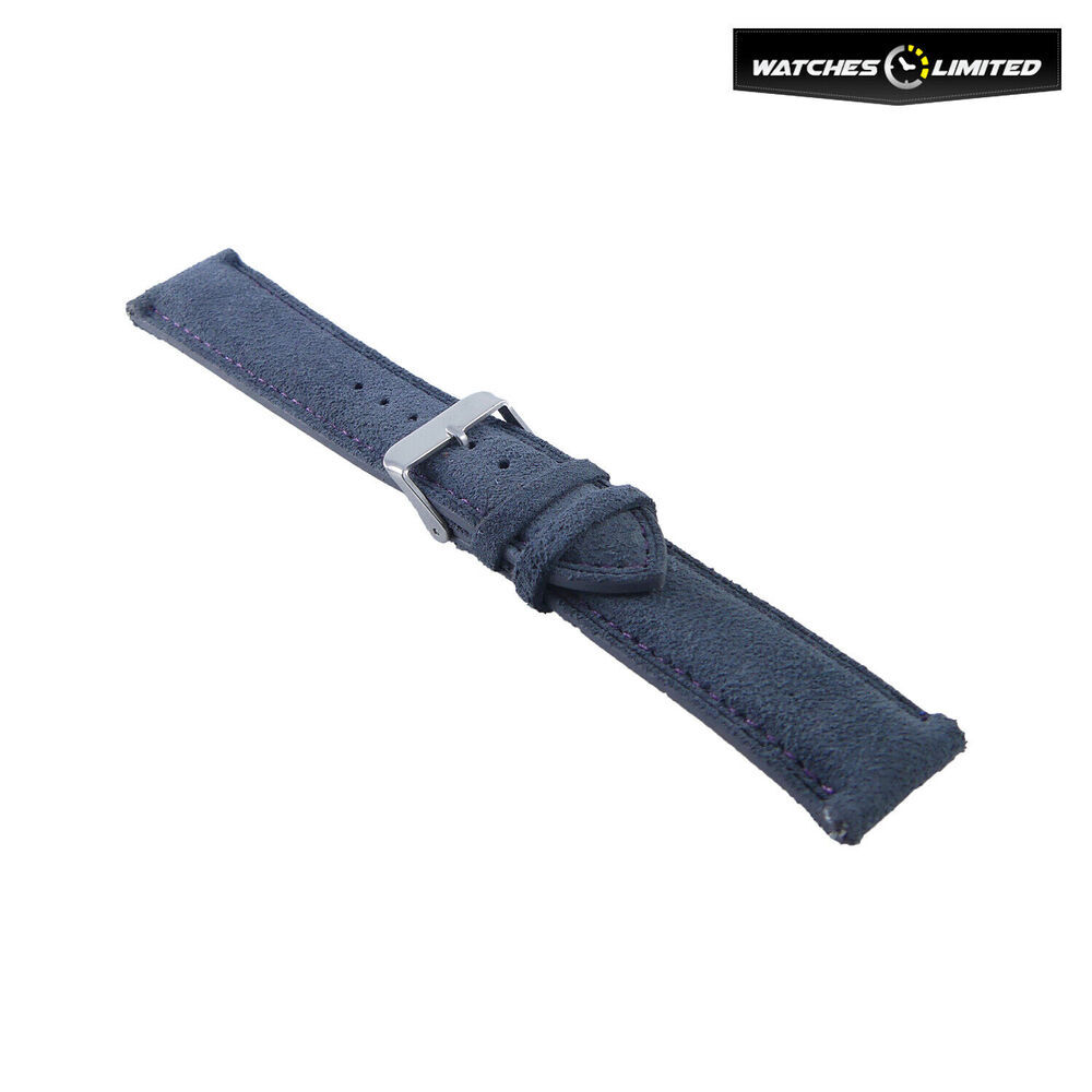Suede Leather Strap Black, Grey, Purple Multi Colour Stitching 20mm-20mm