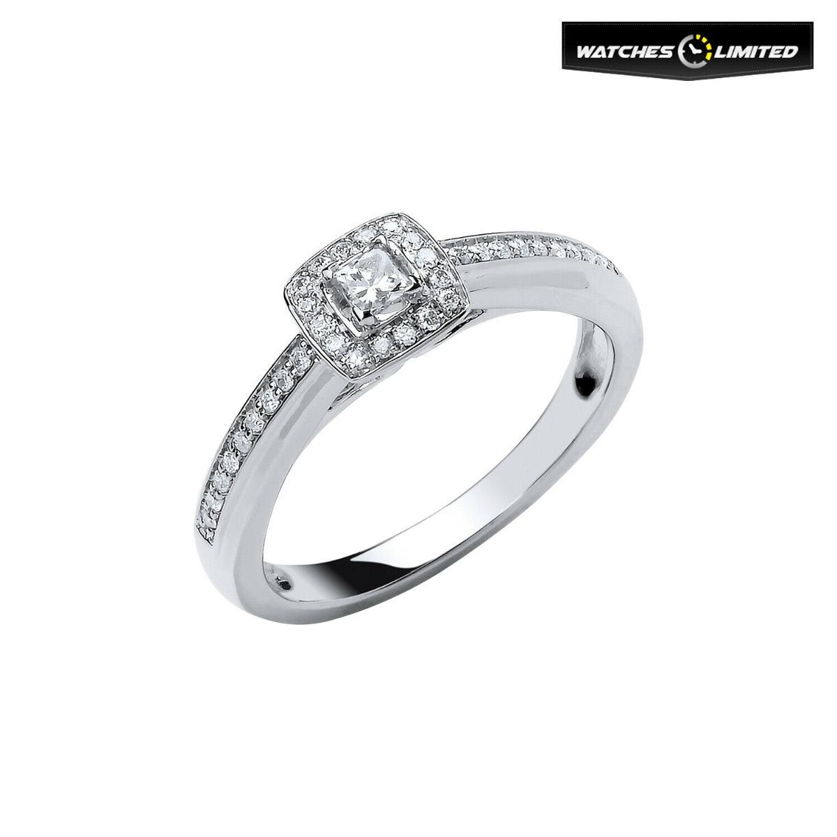 Ladies 18ct White Gold 0.25ct Diamond Engagement Ring Size M