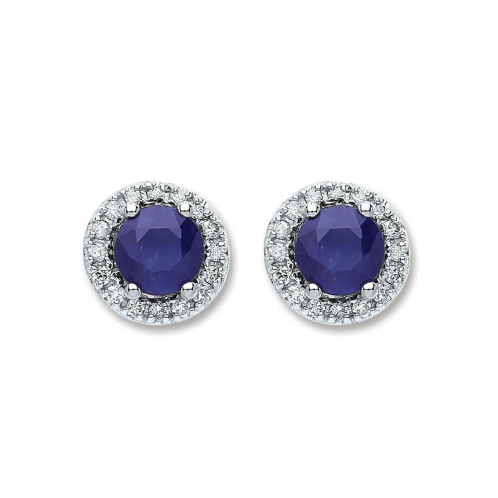 Luxury 9ct White Gold 0.15ct Diamond 1.35ct Blue Sapphire Earrings