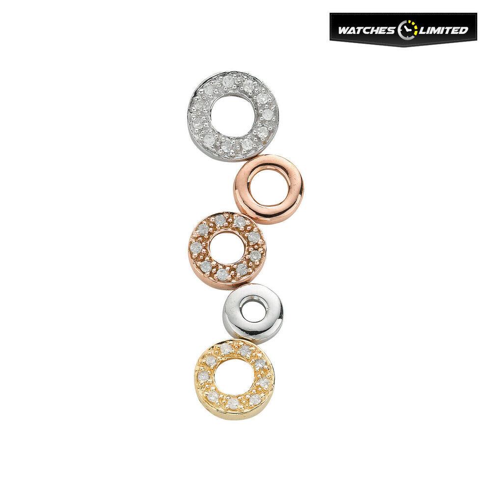 Sparkling Ladies 9ct Tri-Colour Gold 0.18ct Diamond Drop Pendant