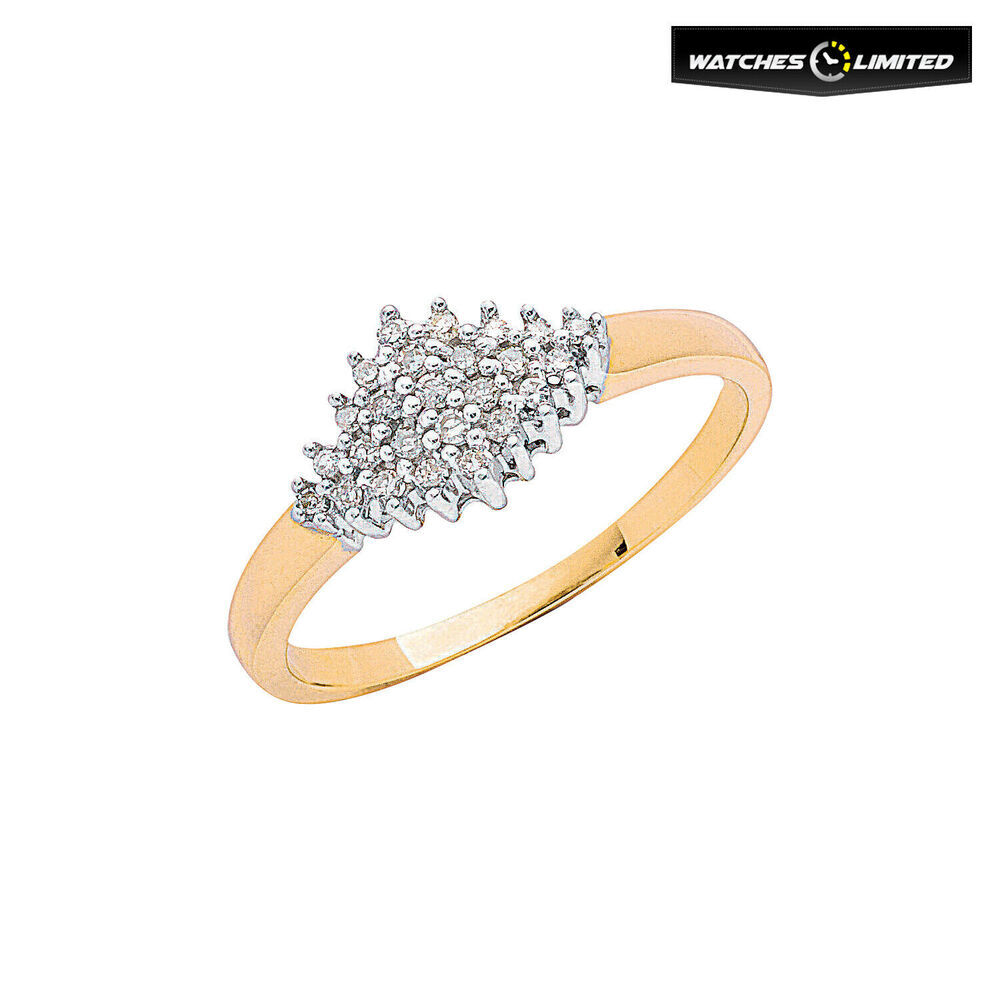 Ladies 9ct Yellow Gold 0.16ct Diamond Cluster Ring Size L