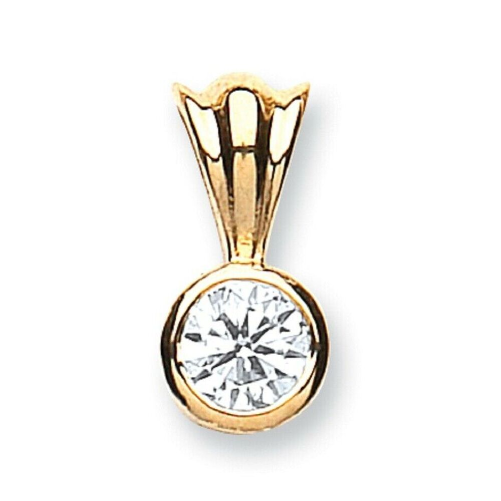 Ladies 18ct Solid Yellow Gold 0.15ct Womens Diamond Drop Pendant