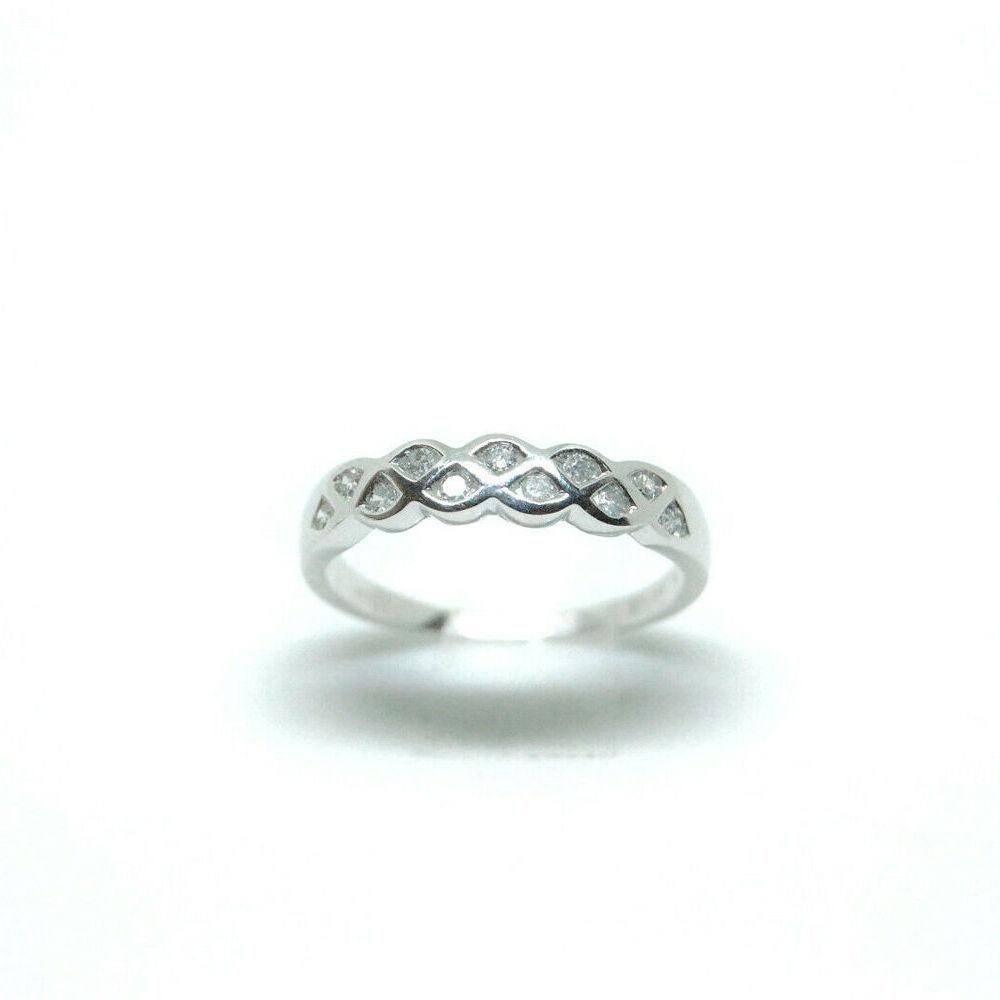 Ladies 9ct White Gold 0.15ct Diamond Ring Size N