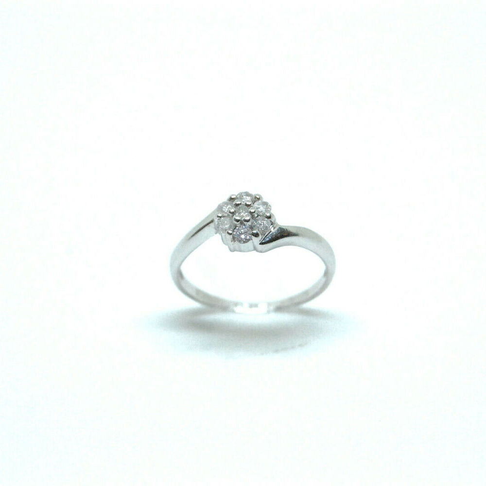 Ladies 9ct White Gold 0.25ct Diamond Ring Flower Design Size K