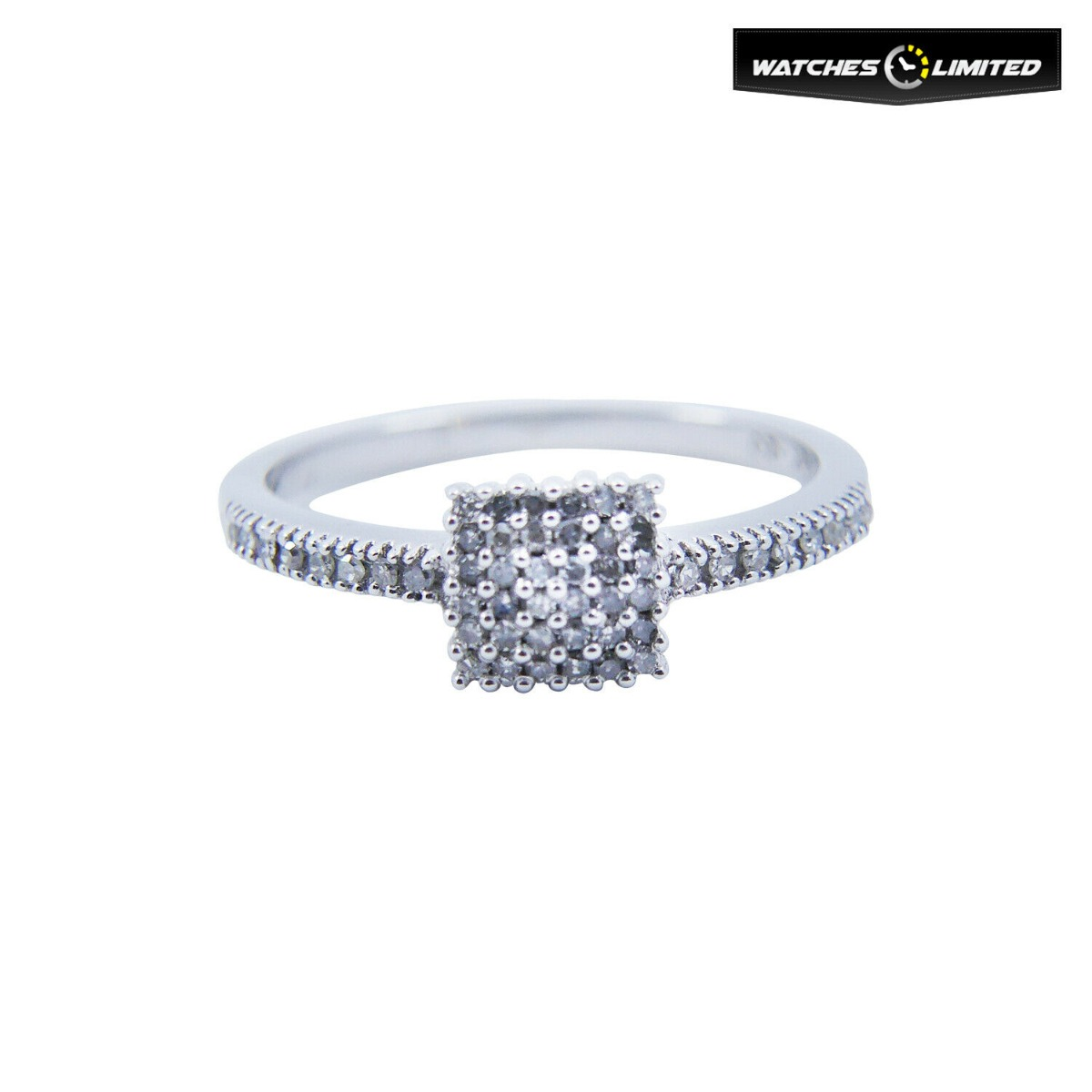 Ladies 9ct White Gold 0.20ct Diamond Ring Square Shape Size N