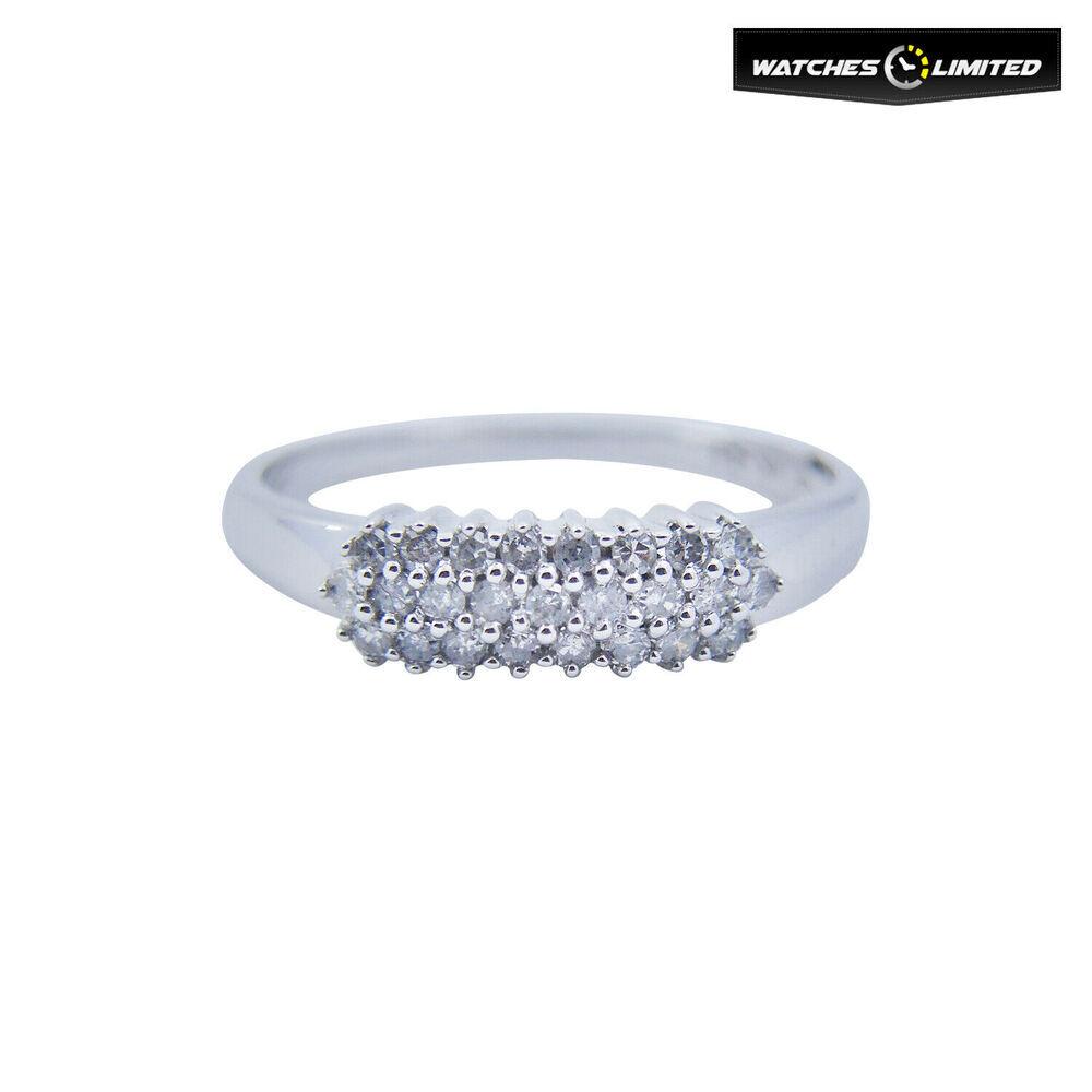 Ladies 9ct White Gold 0.26ct Diamond Ring Size N
