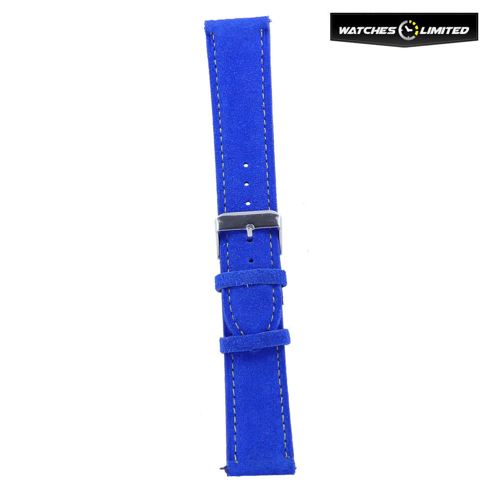 Suede Leather Strap Vibrant Blue Teal Sky Blue Multi Colour Stitching 20mm-20mm